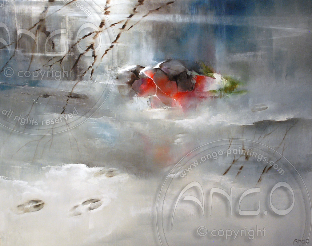 Wildlife paintings : snow landscape painting