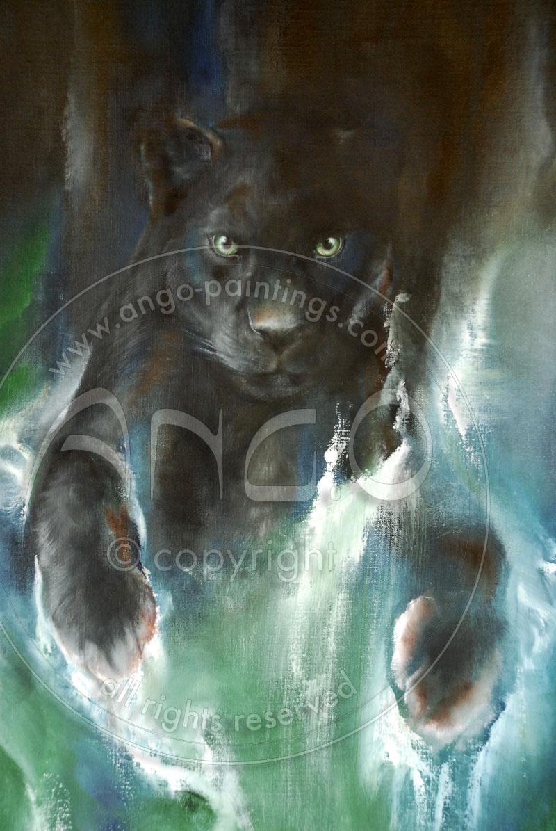 Wildlife Art : Black Panther Painting « The panther jump »
