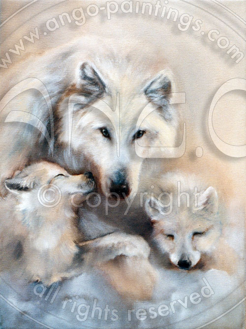 Wildlife paintings : Female wolf painting