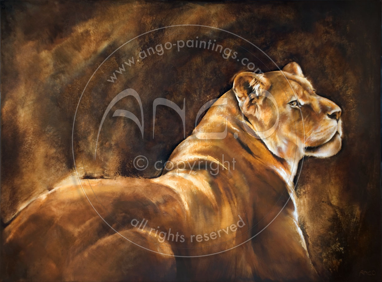 Animal paintings : Lioness painting