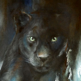 Animal paintings : Black panther painting by Ang.O