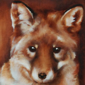 Young fox painting